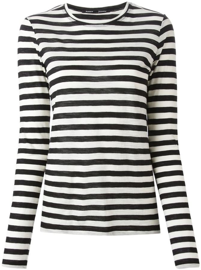 Proenza schouler striped t shirt where to buy how to wear for Black and white striped long sleeve shirt women