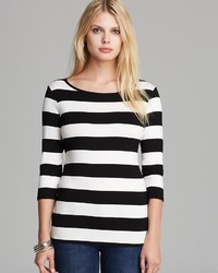 NYDJ Scoop Neck Wide Stripe Tee