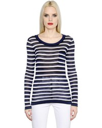 Sonia Rykiel Striped Silk Cotton Jersey T Shirt