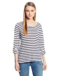 Splendid Navy Classic Venice Stripe Pocket Long Sleeve Tee