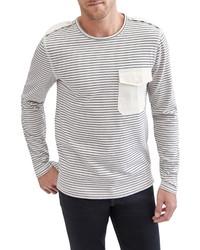 7 For All Mankind Stripe Epaulet T Shirt