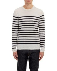 Vince Stripe Long Sleeve T Shirt White