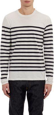 Vince Stripe Long Sleeve T Shirt White