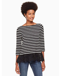 Kate Spade Stripe Mixed Lace Knit Top