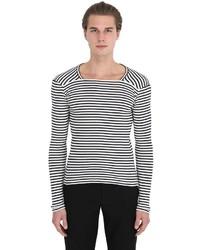 Maison Margiela Striped Cotton Long Sleeve T Shirt
