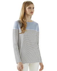 061ffcd7 Women's White and Black Horizontal Striped Long Sleeve T-shirts by ...