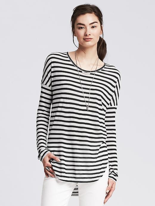 03c98f98845c8 ... Banana Republic Striped Dolman Sleeve Shirttail Tee ...