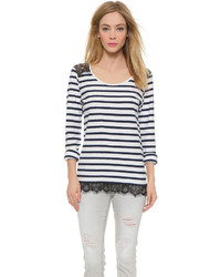 Striped lace pullover medium 312323