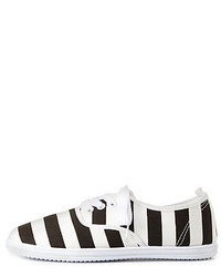 Charlotte Russe Striped Low Top Canvas Sneakers