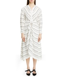 Proenza Schouler Tie Front Stripe Crepe Dress