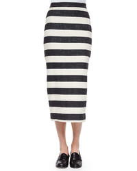 White and Black Horizontal Striped Midi Skirt