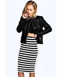 Boohoo Diana Mono Stripe Midi Skirt