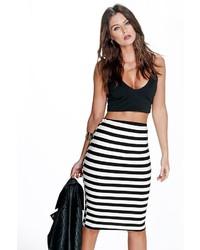 Boohoo Harper Monochrome Stripe Super Stretch Midi Skirt