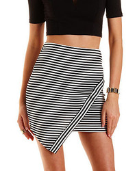 White and Black Horizontal Striped Mini Skirt