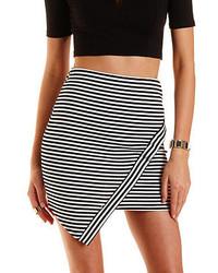 Charlotte Russe Striped Asymmetrical Mini Skirt