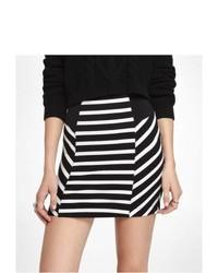 Express Striped High Waist Knit Mini Skirt Black Medium