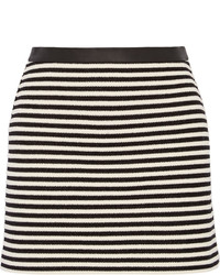 Alexander Wang T By Leather Trimmed Striped Woven Mini Skirt