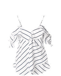 White and Black Horizontal Striped Off Shoulder Top
