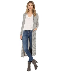 White and Black Horizontal Striped Open Cardigan