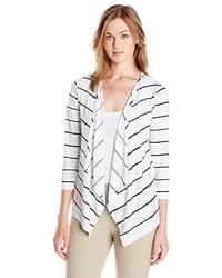 Jones New York Striped Open Front Cardigan Sweater