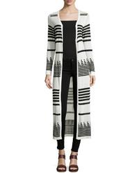 Neiman Marcus Long Striped Open Cardigan Blackwhite