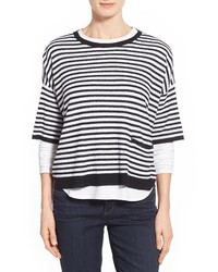 White and Black Horizontal Striped Oversized Sweater