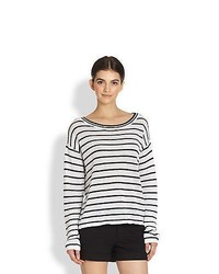 Alice olivia ottoman striped stretch linen sweater whiteblack medium 386298
