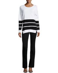 J Brand Jeans Aliso Long Sleeve Triple Stripe Sweater Whiteblack