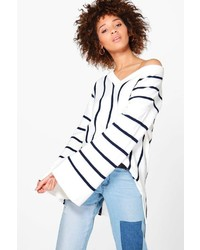 Boohoo Justine Wide Sleeve Striped Oversized Jumper