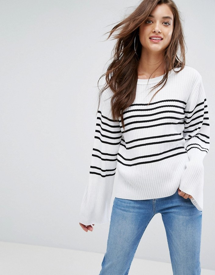 824f1bd85b923 Boohoo Stripe Wide Sleeve Sweater, $35 | Asos | Lookastic.com