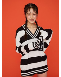 Striped V Neck M Patch Sweater Black Off White Str