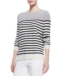 Vince Colorblock Striped Cashmere Sweater Steelblackwhite