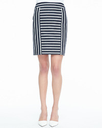 White and Black Horizontal Striped Pencil Skirt