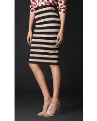 Burberry Striped Pencil Skirt