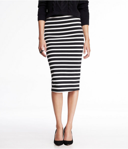 white and black horizontal striped pencil skirt express