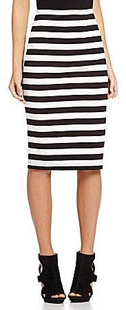 5c60c000ef ... White and Black Horizontal Striped Pencil Skirts Takara Midi Striped  Pencil Skirt