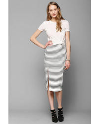 BDG Stripe Fitted Midi Skirt