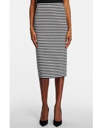 Lafayette 148 New York Stripe Stretch Knit Long Pencil Skirt
