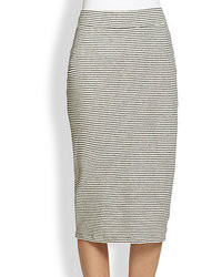 James Perse Striped Stretch Jersey Pencil Skirt