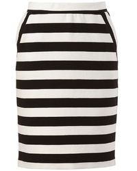Elle Tm Striped Ponte Pencil Skirt