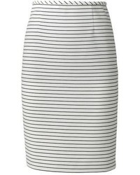 Vicky Tiel Striped Ponte Pencil Skirt