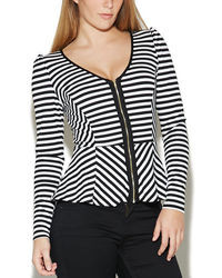 Arden b striped zip peplum top medium 24954