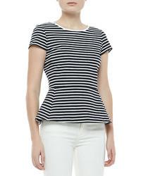 Panna bimini striped peplum topuniform white medium 24953