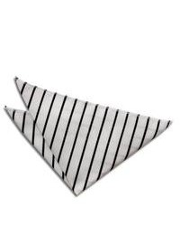 White and Black Horizontal Striped Pocket Square