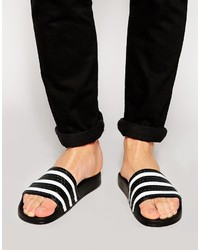 White and Black Horizontal Striped Rubber Sandals
