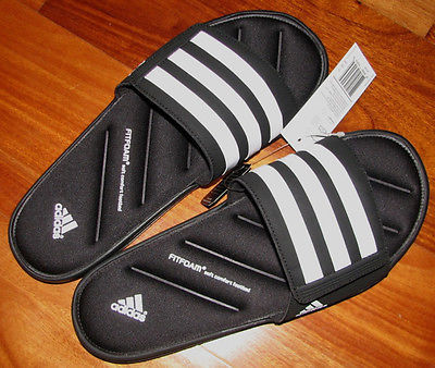 8aa54c76a37da5 adidas New Zeitfrei Fitfoam Slide Sandals Blackwhite Size 8 9 10 11 ...