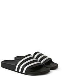 fb7ab8222 Men s White and Black Horizontal Striped Rubber Sandals by adidas ...