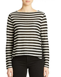 White and Black Horizontal Striped Sequin Long Sleeve T-shirt