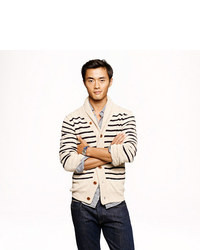 Stripe cotton shawl cardigan medium 11514