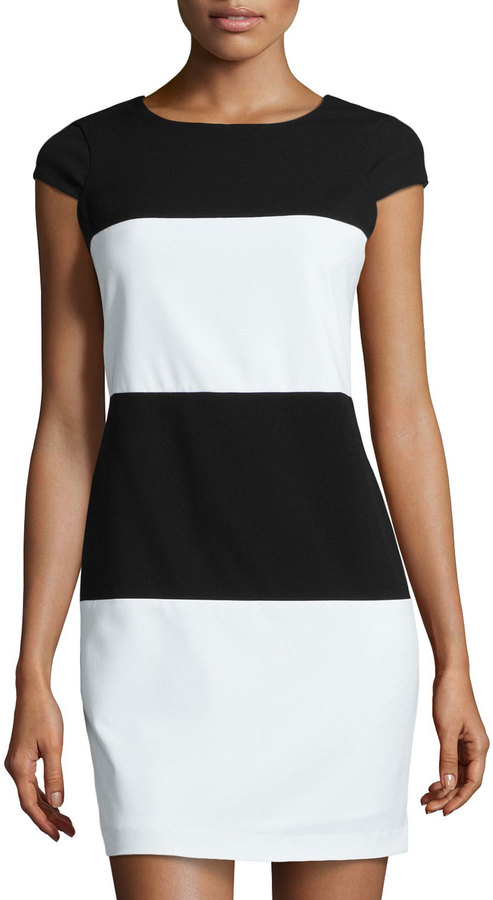 Andrew Marc New York Marc By Striped Cap Sleeve Shift Dress ...